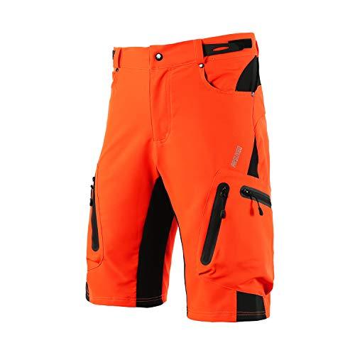 ARSUXEO Uomini Ciclismo Pantaloncini Sciolto Fit MTB Mountain Shorts Resistente All'aperto Sport Fondo 1202, Uomo, Arancione senza imbottitura, L