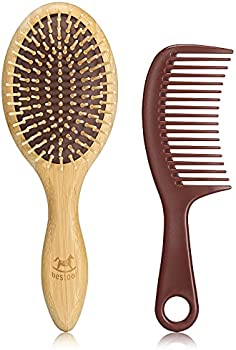 BESTOOL Bamboo Detangling Brush & Wide Teeth Comb