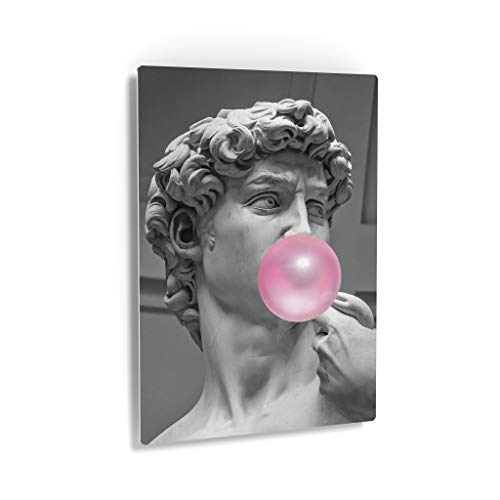 Smile Art Design Michelangelo's Masterpiece Statue of David Pink Bubble Gum Art Metal Print Famous Statues Metal Wall Art Classic Art Home Decor Ready to Hang Made in USA - 12x8