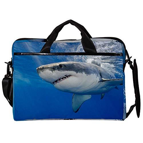 TIZORAX Laptop Messenger Schultertasche Underwater Danger Shark Computer Sleeve Notebook-Tasche 15-15,4 Zoll Handtasche