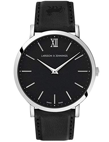 Larsson & Jennings Lugano Unisex Watch with 40mm Black dial and Black Leather Strap LJXII140009.