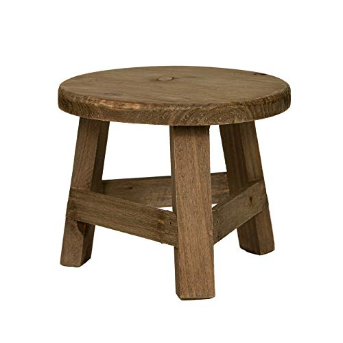 Rustix Small Wooden Stool Rustic Decorative Mini Stool Ideal Accent Stool for Small trinkets Plants and Decor