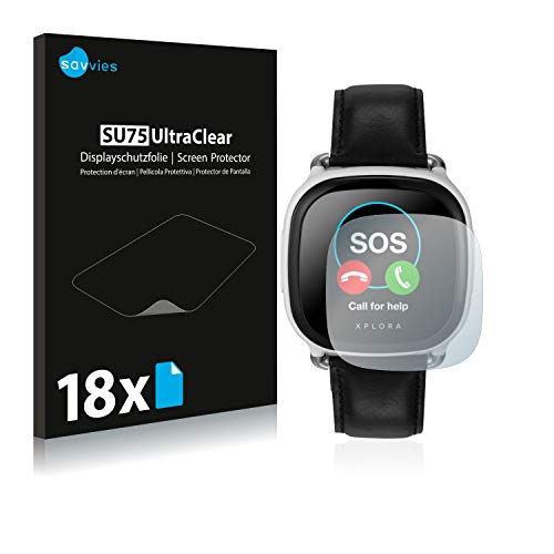 Savvies 18x Schutzfolie kompatibel mit Xplora Care Bildschirmschutz-Folie Ultra-transparent