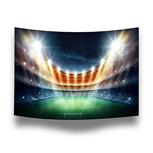 Campo di calcio di notte Fotografia Sfondo Poliestere Arazzo Sport Stadio Photo Booth Sfondo per feste Immagini, Decorazione da tavolo, Camera da letto appeso FT-3543