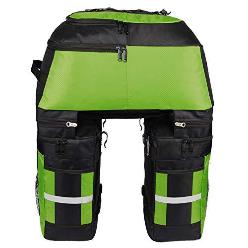 Asvert Alforjas para Bicicletas,Alforja Maletero Impermeable, 3 Compartimentos para Portaequipajes Asiento Trasero de Bicicleta de Carretera Bicicleta Pannier(Verde)