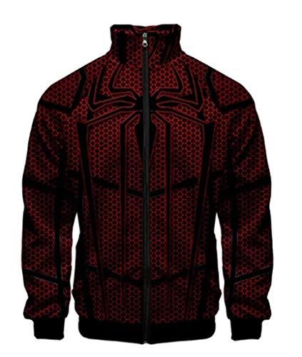 Moit Spider Unisex Cosplay Kostüme Sweatshirt Superheld Reißverschluss Jacke Gr. XX-Large, 3