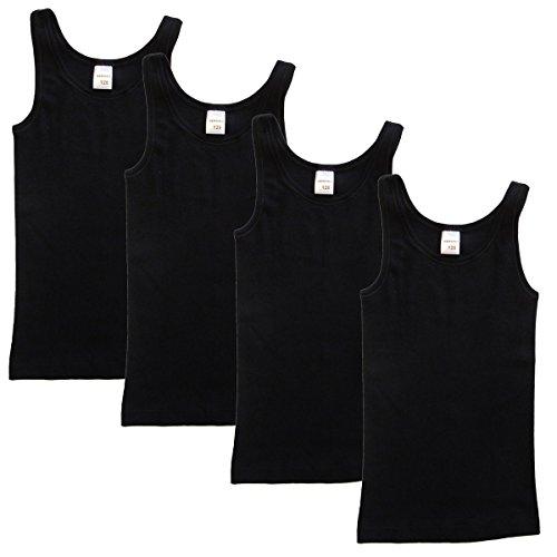 HERMKO 2000 4er Pack Mädchen Unterhemd aus 100% Bio-Baumwolle, Tank Top, Farbe:schwarz, Größe:104