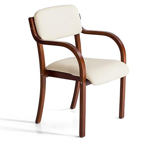 Rollsnownow Chaise de salle à manger en bois massif Coussin beige Chaise de bureau moderne Chaise simple Simplicité (Color : Brown wooden frame)
