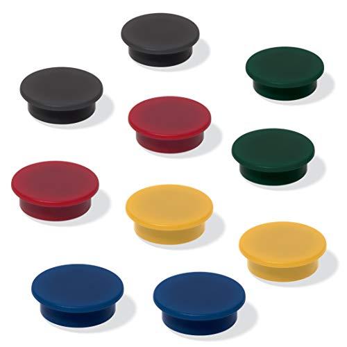 SIGEL MU197 Lot de 10 Aimants pour tableaux blancs / tableaux magnétiques, frigos, 5 couleurs assorties, Ø 2.5 cm