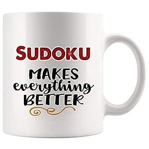 Everything Better With Sudoku Mug Coffee Cup Tea Mugs Gift   Son Daughter Kids Kakuro Game crossword puzzle children Funny Lover Men Women Kids Sayings Travel