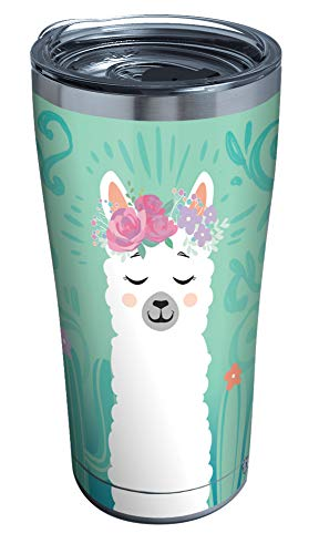 Tervis Llama Flora Stainless Steel Insulated Tumbler with Clear and Black Hammer Lid, 20 oz, Silver