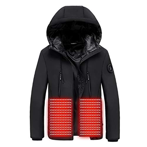 ZHANSANFM Softshell Beheizbare Jacke Herren USB Smart Elektrische Heizung Winterjacke mit Kapuze Wasserdicht Winddicht warm Funktionsjacke für Outdoor Skifahren Bergsteigen Angeln (6XL, Schwarz)