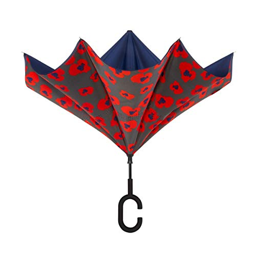 ShedRain UnbelievaBrella Fashion Floral Print Reverse Umbrella: Inga Poppies