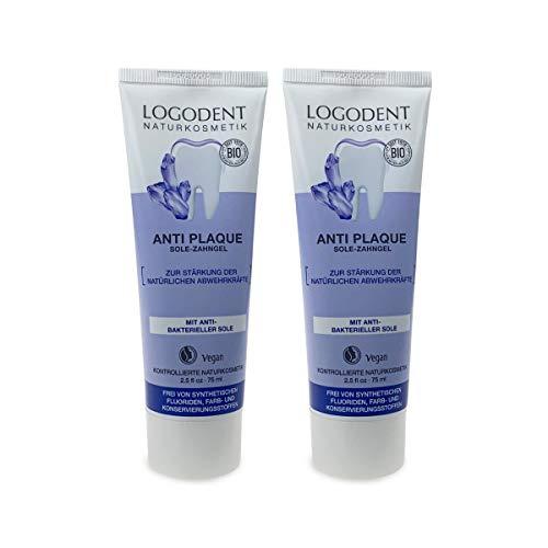 LOGODENT Anti Plaque Sole-Zahngel (2 X 75 Ml), leicht salziger Geschmack, Bio Zahnpasta, Vegan, Fluoridfrei, Naturkosmetik
