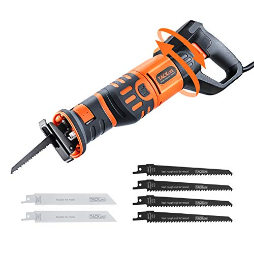 Reciprocating Saw, TACKLIFE 1050W 0~2700RPM Sabre Saw with Rotary...