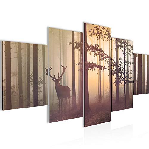 Bilder Wald Hirsch Wandbild 200 x 100 cm Vlies - Leinwand Bild XXL Format Wandbilder Wohnzimmer Wohnung Deko Kunstdrucke Gelb 5 Teilig - MADE IN GERMANY - Fertig zum Aufhängen 013451c