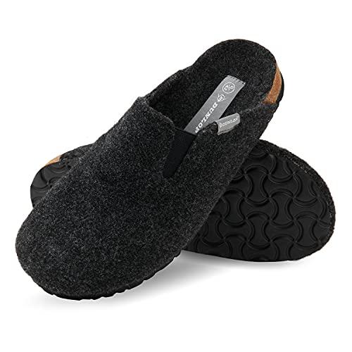 Dunlop - Pantofole da uomo, in feltro, suola antiscivolo in gomma, per interni ed esterni, Nero (Nero ), 42 EU