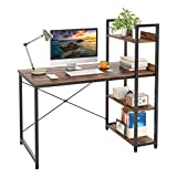 Computer Desk, 47' Home Office Computer Desk, Table Office, Storage Desk with 4-Layer Shelf, School Study Table with Storage, Work Desk for Teenager & Kids, Contemporary Computer Desk, Brown