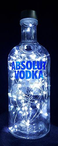 Absolut Vodka - Flaschenlampe Lampe mit 80 LEDs Kaltweiß Upcycling Geschenk Idee