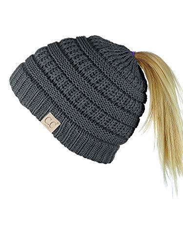 C.C BeanieTail Kids' Children's Soft Cable Knit Messy High Bun Ponytail Beanie Hat, Dark Melange Gray
