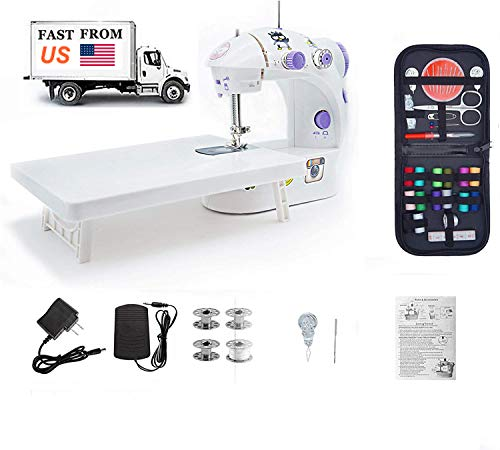 Mini Sewing Machine, with Extension Table Adjustable 2-Speed 2-Thread Sewing Machine, Portable Electric Sewing Machine with Foot Pedal, for Denim Leather etc DIY (White) (White)
