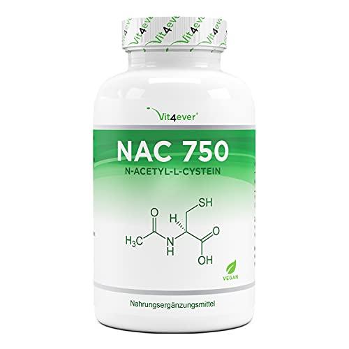 NAC - N-Acetil L-Cisteína 180 cápsulas con 750 mg cada una - Suministro para 6 meses - Vegano - Altamente dosificado - Sin aditivos no deseados