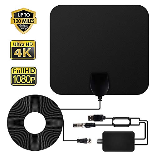 ANEAR TV Antenna - HDTV Antenna Indoor Support 4K 1080P, 60-100 Miles Range Digital Antenna, VHF UHF Freeview Channels Antenna with Amplifier Signal Booster, 16.5 Ft Longer Coaxial Cable, Black