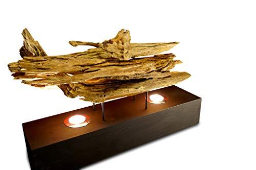 Kinaree Treibholz Tischleuchte RATCHABURI - 60cm Tischlampe mit 2 LED Spots aus Treibholz, geeignet für Wohnzimmer, Flur oder Schlafzimmer