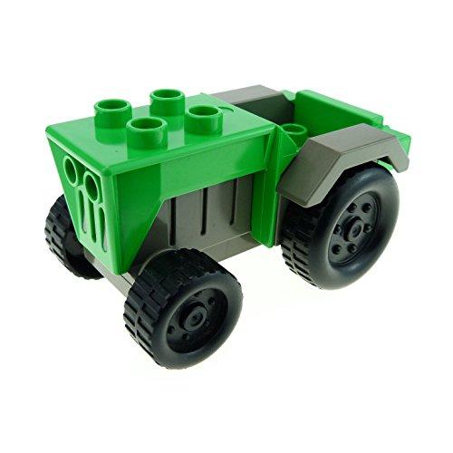 Bausteine gebraucht 1 x Lego Duplo Fahrzeug Traktor Bright hell grün alt-dunkel grau (Radmuttern) Auto Bauernhof Tier Hof Set 3618 klein Tractor