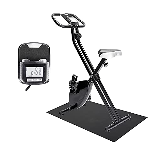 SSPHPPLIE Stationary Bikes Folding Magnetic Upright Exercise Bikew/LCD Screen, Adjustable Comfortable Seat, for Home Office Use