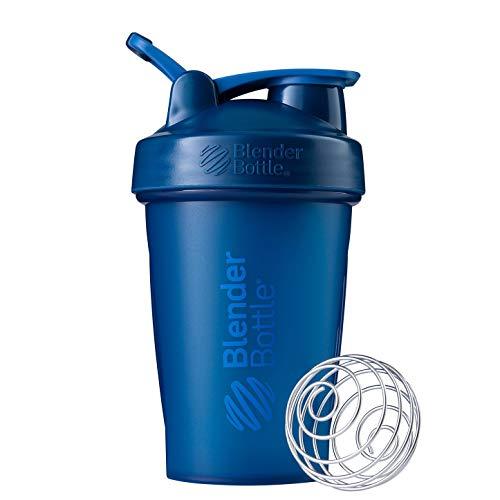 BlenderBottle Classic Loop - Botella Mezcladora de Batidos de proteínas con batidor Blenderball, Azul Marino (Navy), 590ml