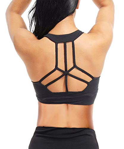 Yaavii Women Strappy Sports Yoga Bra Cross Back Seamless High Impact Underwired Workout Running Yoga...