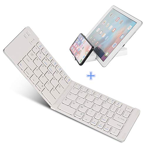 IKOS Ultra-Slim tragbare faltbare Bluetooth 3 Tastatur [QWERTY German Layout] für iOS / Windows-Android-Geräte: iPhone 7 7 6s 6 Plus, Samsung, iPad Pro / Air / Mini, Smartphone, Tablets