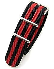 Nero & Rosso a righe Fanteria militare mod nato in nylon tessuto Generic G104anelli orologio da polso con fibbia cromata