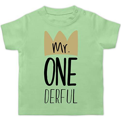 Geburtstag Baby - Mr One Derful - 12/18 Monate - Mintgrün - Mein erster Geburtstag Junge Kleidung - BZ02 - Baby T-Shirt Kurzarm