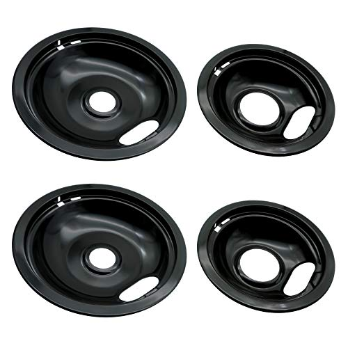 Ecumfy W10288051 Porcelain Drip Pan Kit, 2 6-Inch and 2 8-Inch Pans (4 Pack), Replacement for Whirlpool Electric Stove, Black