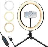 BAOFI Soporte para USB Anillo de luz LED con el Apoyo y la cámara del teléfono Video Set de iluminación para los vídeos de Youtube, Maquillaje, autofotos, fotografía, radiodifusión, TikTok, fle.
