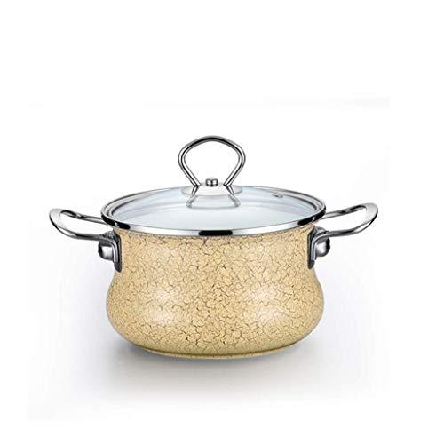 Esmalte Pot Noodle Soup Pot grueso esmalte leche Olla cocina de inducción de acero inoxidable Binaural Inicio Olla lucar