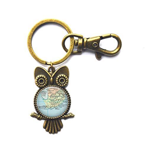 A0302 Schlüsselanhänger, südafrikanische Landkarte Eule, Südafrika-Schlüsselanhänger, Kartenschmuck, Südafrika-Eulen-Schlüsselanhänger