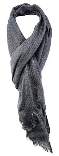 TigerTie sjaal in grijze pailletten met kleine franjes - maat 180 x 55 cm.