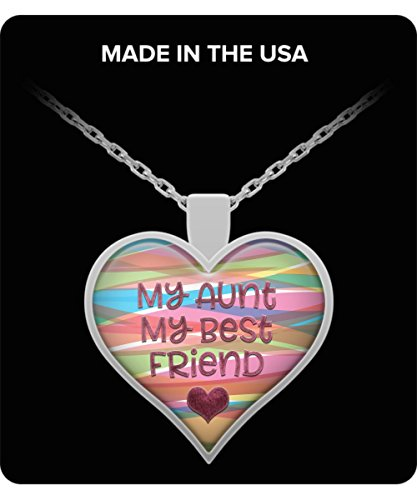 RC Rex Books My Aunt Best Friend Necklace Gift Family Love Heart Friends Gold Silver Jewelry