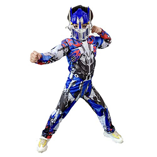 WEIR Enfants Optimus Prime Muscle Costume Halloween Cosplay Onesies Body Party Enfant,Blue-110cm~120cm
