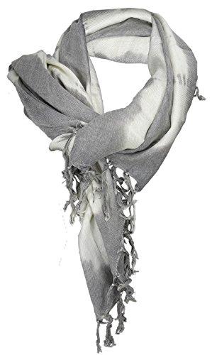 TigerTie halsdoek in grijs wit Batik motief met franjes - doek maat 100 x 100 cm.