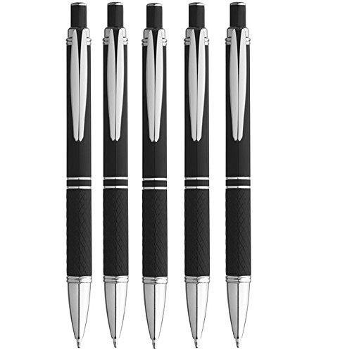 Kugelschreiber Set 5er Aluminium Stift Schreibmittel Schreibgerät in schwarz, grau, rot, grün, türkis oder violett von notrash2003 (Schwarz)