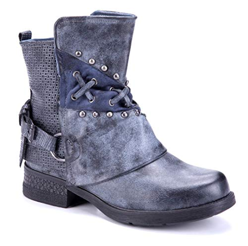 Schuhtempel24 Damen Schuhe Klassische Stiefeletten Stiefel Boots blau Blockabsatz Schnalle/Nieten/Used Look 4 cm