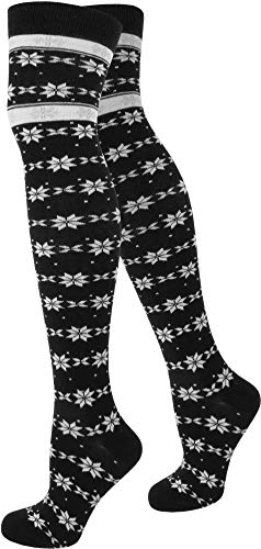 normani Top modische Damen Overknees in verschiedenen Designs/Baumwolle mit Elasthan Auswahl Farbe Star Design Größe OneSize
