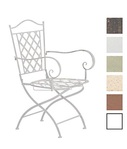 CLP Eisenstuhl Adara im Jugendstil I Outdoor-Stuhl mit Armlehnen I Handgefertigter Gartenstuhl aus Eisen I erhältlich Antik Weiß