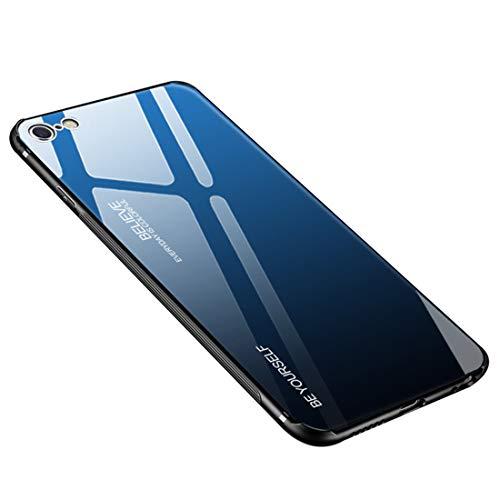 Desconocido Funda iPhone 6 / 6S Plus, Borde de Silicona TPU Suave +Vidrio Templado Cubierta Trasera Case Gradiente de Color Resistente a los Arañazos para iPhone 6 / 6s (iPhone 6 / 6s, Azul + Negro)