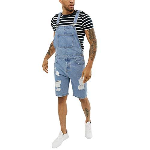 Auiyut Herren Jeans Jumpsuit Latzhose Denim Short Overall Loose Fit Kurze Hose Jeans Overall Jeanslatzhose Mode Zerrissene Loch Kurze Jeans Overall Einteiliger Overall