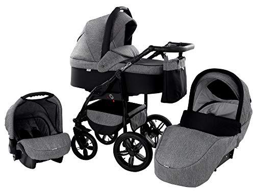 Kinderwagen Babywagen Kombikinderwagen Zeo Wind 3 in 1 Komplettset mit Zubehör 0-3 Jahre 0-15 kg Insektenschutz Einkaufstasche Regenschutz Getränkehalter Buggy Autositz (47)